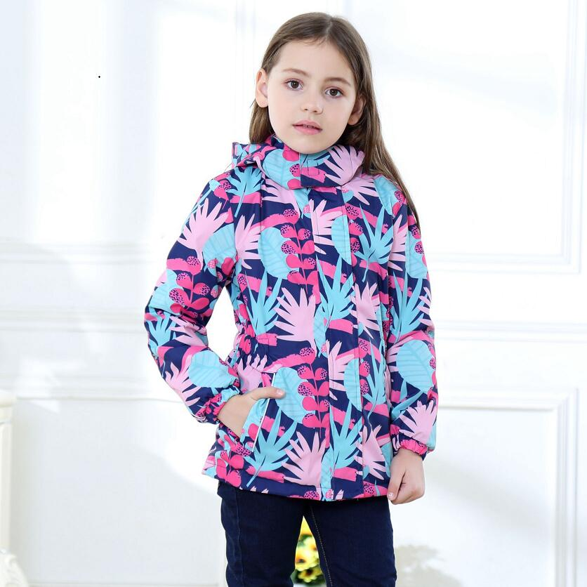 Waterproof Index 5000mm Warm Baby Girls Jackets Child Coat Polar Fleece Children Outerwear For 3-12 Years Old Winter Autumn