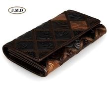 J.M.D Genuine Leather Hot Selling Flower Pattern Lady's Purse Unique Design Wallet Cell Phone Pocket Card Holder Wallet 8092-3C