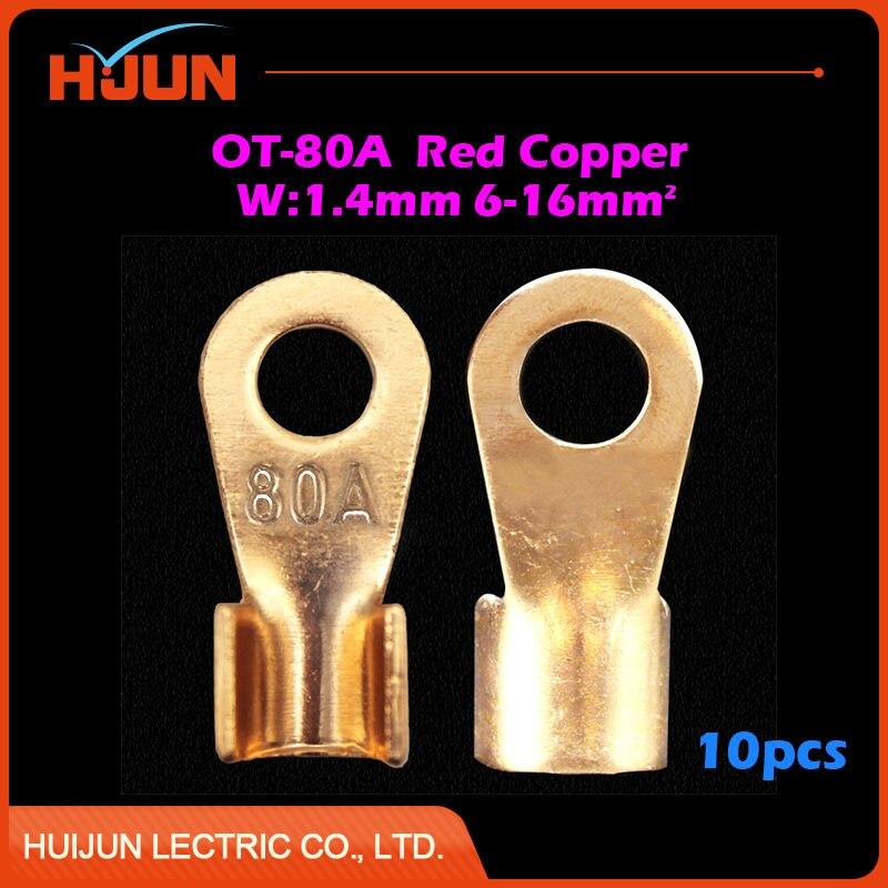 10pcs/lot OT 200A 10.2mm Dia Red Copper Circular Splice