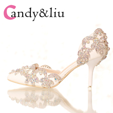 Wedding Shoes Women Pumps Rhinestone 7cm Heels White Shoe Bride Pointed Toe Halloween Festival Holiday Gifts Celebration