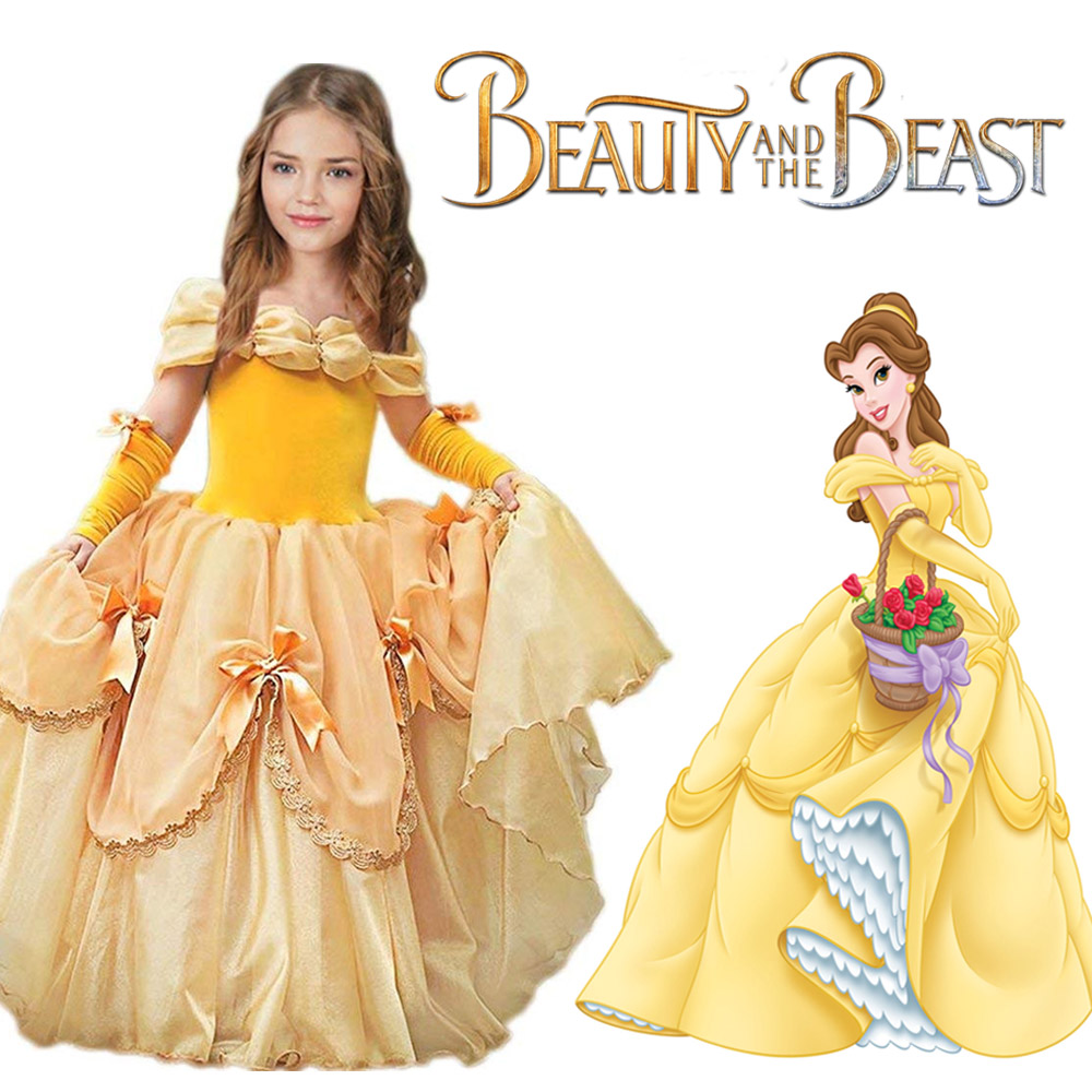 Girls Belle Dress Beauty and The Beast Princess Costume Party Wedding Dress Halloween Belle Costume Birthday Ball Gown