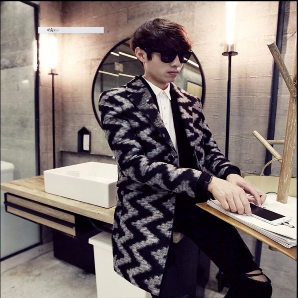 2016 осенне зимний шерстяной Тренч модная мужская одежда пальто средней длины с волнистым узором длинные пальто костюмы певицы - 2