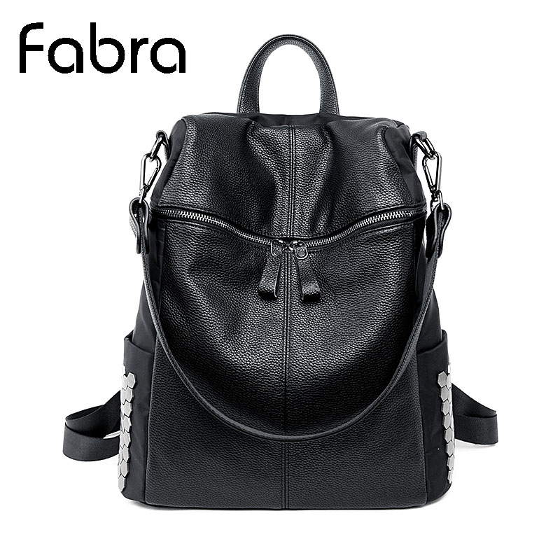 ФОТО Fabra New Fashion PU Leather Korean Women Rivet Backpacks Casual Travel Shoulder Female Back School Bag For Teenager 32x16x36 cm
