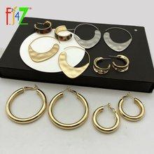 Женские металлические серьги кольца fj4z простые круглые в стиле
