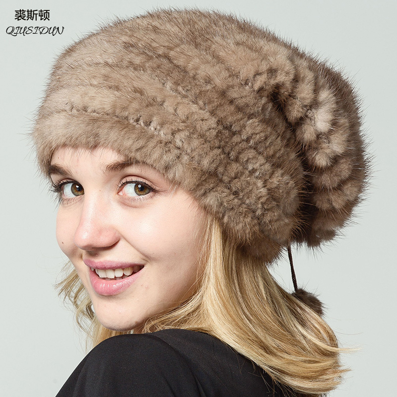 2018 Mink Fur Hat Natural Real Winter Knitted Mink Hats For Women Warm BLACK Furs Cap Lady   Beanies Russia Woman Caps Qiusidun