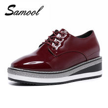 453021188a8 Fashion flat Platform Women Shoes 2018 Spring Autumn Luxury Leather Women  Casual Wine Red Thick Bottom