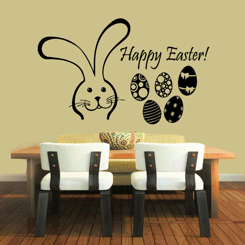 ZOOYOO Happy Easter Eggs Sticker Wall Decals Home Decorative Rabbits ...