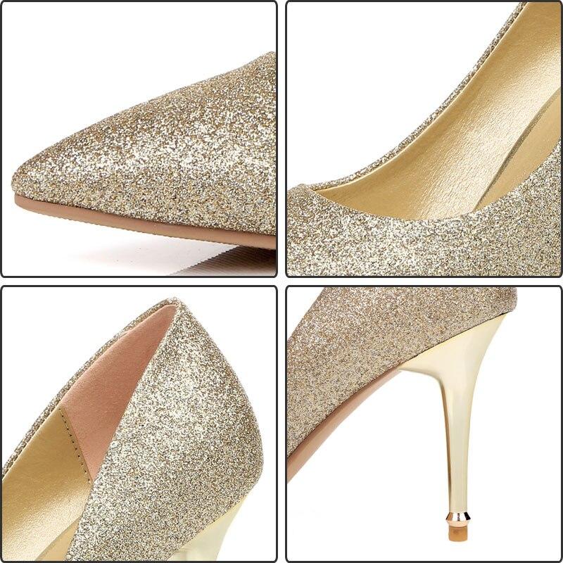 Bout Mariage Bureau Black Chaussures 2018 Base Concise silver Mince Talon Fanyuan Pompes golden Pointu De Haute Femmes Partie Lady Talons EaOWCTSqx