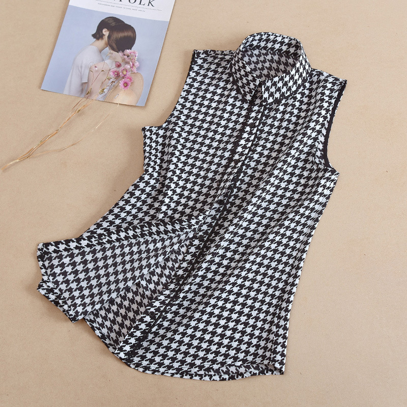 Spring and Summer New Sleeveless Large Size Shirt Plaid Fashion Voile Plus Size Office Lady Womens Tops and Blouses