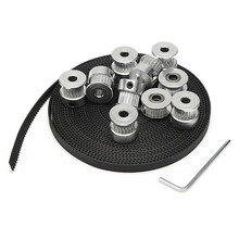1PC 5m GT2 Belt +1PC 20T 5mm Tensioner+ 1PC 5mm Tensioner+ 8PCS 20T 5mm GT2 Pulley + 1PCS Wrench For 3D Printer