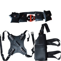 Black 3 Pieces Deadpool Accessories Belt Sword Holder Gun Holfer
