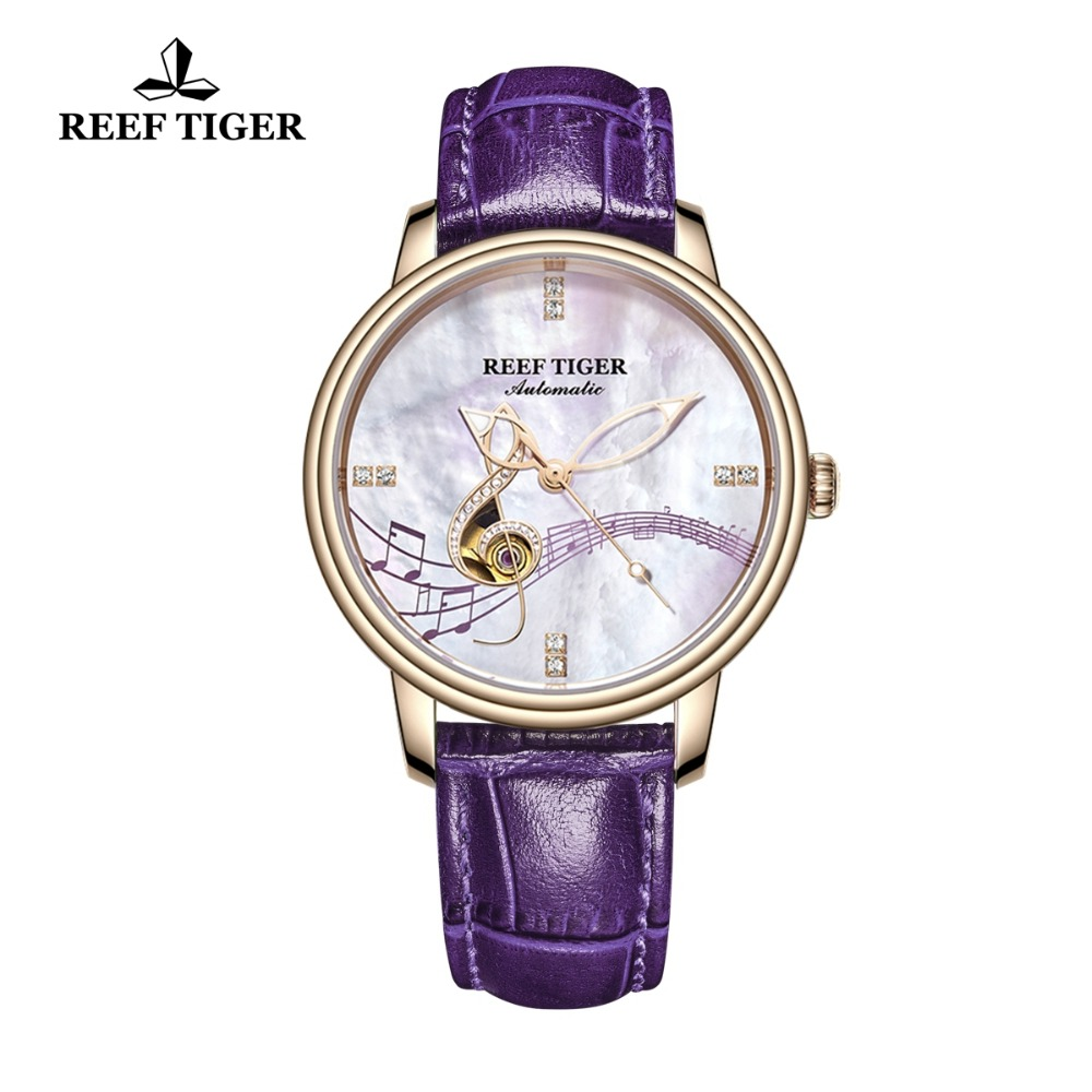 Reef Tiger RT Women Fashion Watches 2019 New Rose Gold Luxury Automatic Watches Leather Band relogio