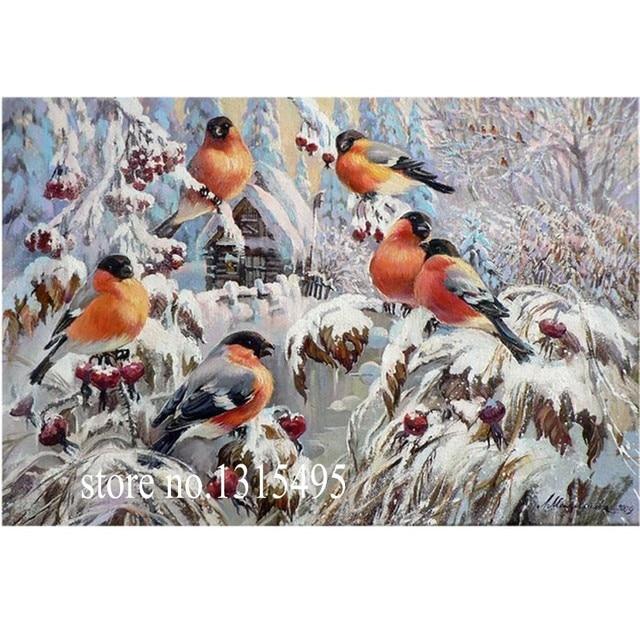 АЛМАЗ ВЫШИВКА зимние птицы на снегу 5d алмаз живопись мозаика картина пасты алмазные вышивка E033