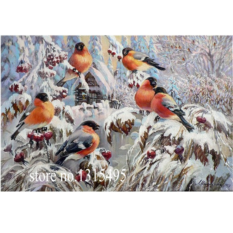 DIAMOND EMBROIDERY winter birds on snow 5d of the diamond painting mosaic the picture pastes diamond embroidery E033