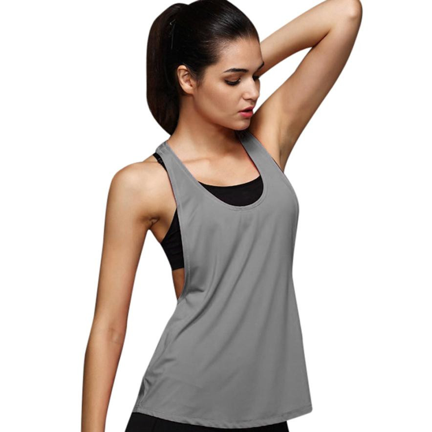 1e8d5455eb9ee1 10 Colors Summer Sexy Women s Tank Tops Quick Drying Loose Breathable  Fitness Sleeveless Vest Workout Top Exercise T-shirt plus ~ Top Deal April  2019