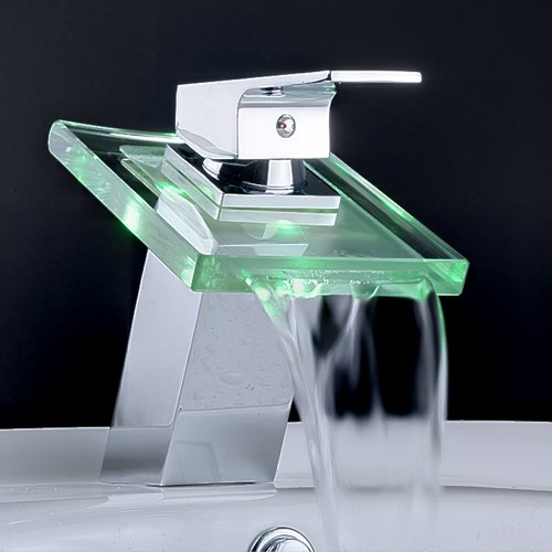 Modern Single Handle Waterfall Bathroom Vanity Vessel Sink LED Faucet, Chrome