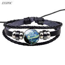 Кожаный браслет с изображением звездной ночи