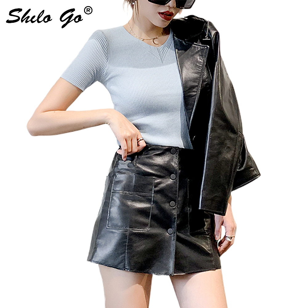 Streetwear Leather Shorts Skirts Women Summer Single Breasted High Waist Sheepskin Genuine Leather Shorts A Line Female Shorts