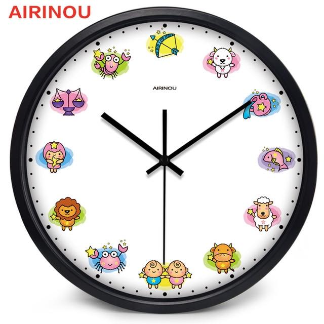 Airinou Cartoon 12 Constellations Design Wall Clock Living Room Clock  Children Room