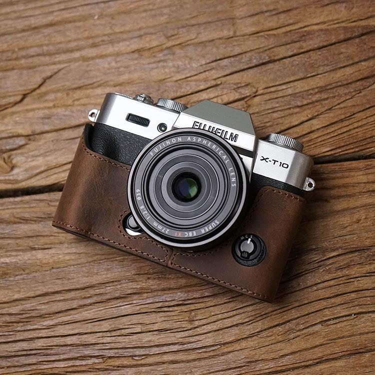 Fuji XT30 X-T20 X-T30 XT20 Camera Mr.Stone Handmade Genuine Leather Camera Case Video Half Bag Camera Bodysuit