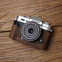 富士 XT30 X T20 X T30 XT20 カメラ Mr.石ハンドメイドの本革カメラケースビデオ半分バッグカメラボディスーツ