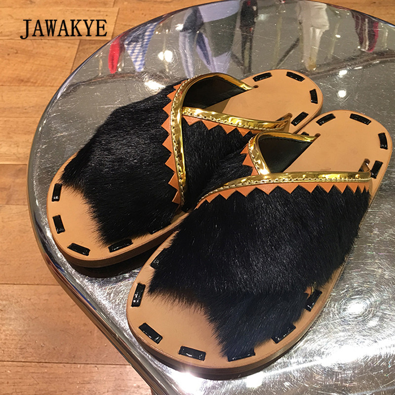 2018 Fashion Black Orange Fur Slipper Woman Open Toe Patchwork Flat Gladiator Sandals Women Shoes Beach