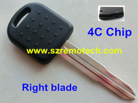 Free Shipping 5pcs Lot New Replacement Transponder Key Fob ID 4C Chip Uncut Right Blade Fit