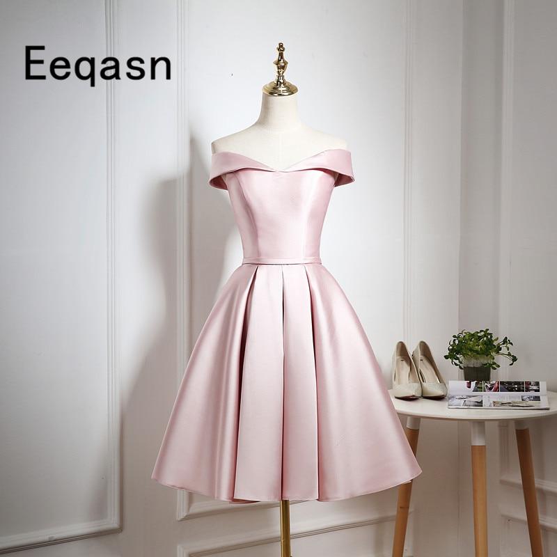 2018 Elegant Cocktail Dresses Off Shoulder Short Mini Satin Party  Homecoming Dresses vestido coctel Vestido de 3b408a217429