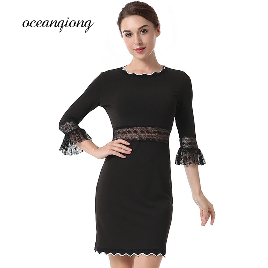 Black Lace Dress Spring Summer 2018 Sexy Hollow Out O neck Three Quater Sleeve Spot Tight Slim Mini Party Dess Women Female
