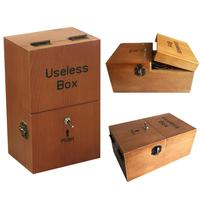 Useless Box Turns Itself Off Leave Me Alone Machine Assembled Real Prank Toys Jokes Gadget Brown
