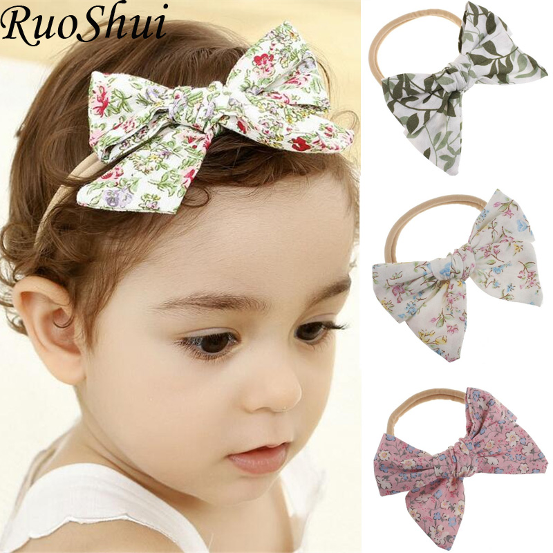 Cute Kids Girl Baby Toddler Cloth Bow Headband Printing Hair Band Headwear