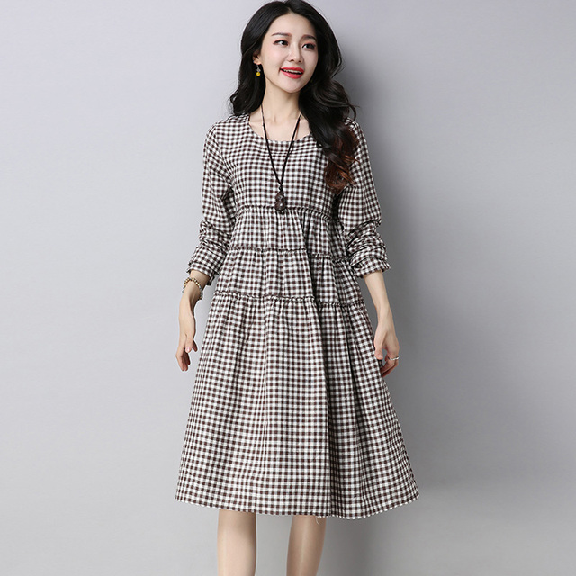 Plus Size Cotton And Linen Dress 2018 Spring New Long Sleeve Plaid