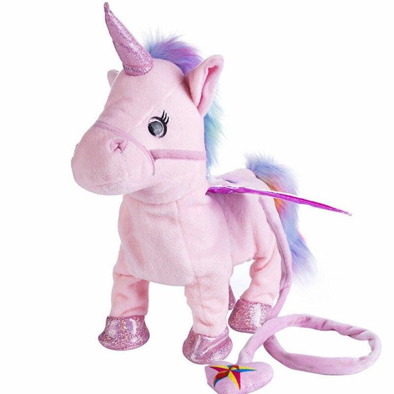 VIP 35 cm unicornio Cantando e Andando Robot Cavalo Unicórnio de pelúcia Eletrônico Eletrônico toy animal plush Kid criança presente de natal
