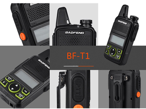 Image 5 - 2pcs Ptt Baofeng BF T1 Portable Earphone Walkie Talkie Set With Handheld Hotel Radio Comunicacion Ham HF Transceiver walk talk