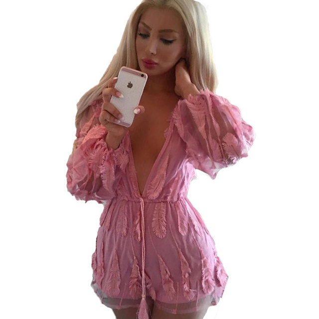 19748d0891d5 Sexy Rompers Women Jumpsuit Deep V Neck Long Sleeve Feather Embroidered  Party Playsuit Bodysuit Combinaison Short
