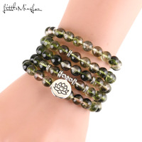 Little Minglou Luxurious Green ghost Phantom Crystal 108 Mala Lotus Bracelet or Necklace Reiki Charged Buddhist Rosary Bracelet