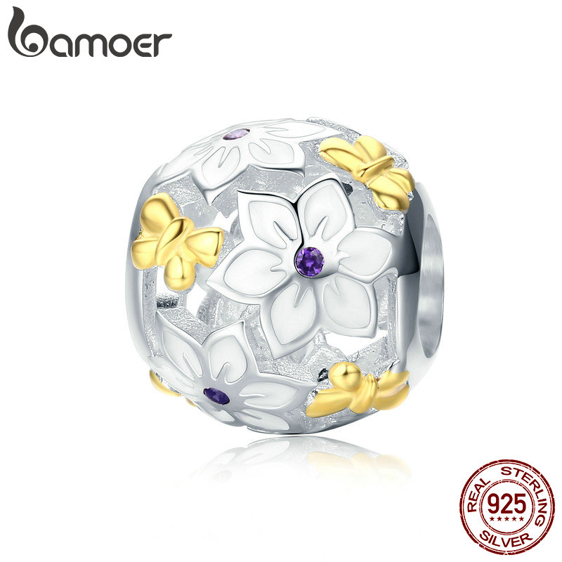 BAMOER 100% 925 Sterling Silver Spring Collection Flower & Butterfly Enamel Charm Beads fit Charm Bracelet Fine Jewelry SCC546