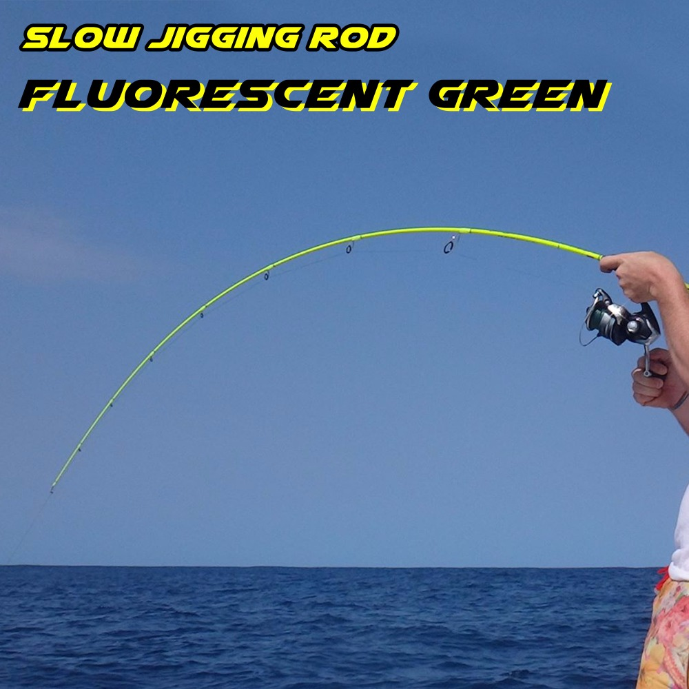Fluorescent yellow green 1 Section Slow Jigging Rod 99% Carbon Fishing Rod FUJI Reel Seat Slow Pitch Jig Rod Sea Fishing купить