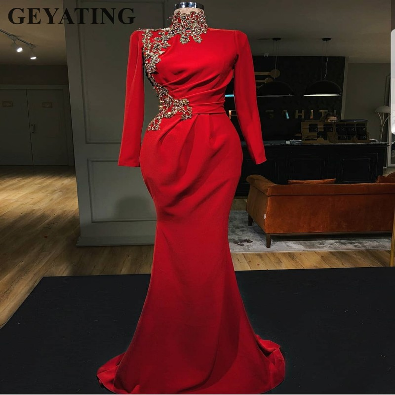 2019 Elegant Red Muslim   Evening     Dresses   Long Sleeve High Neck Gold Beaded Arabic Women Long Mermaid Formal Prom   Dresses   Dubai
