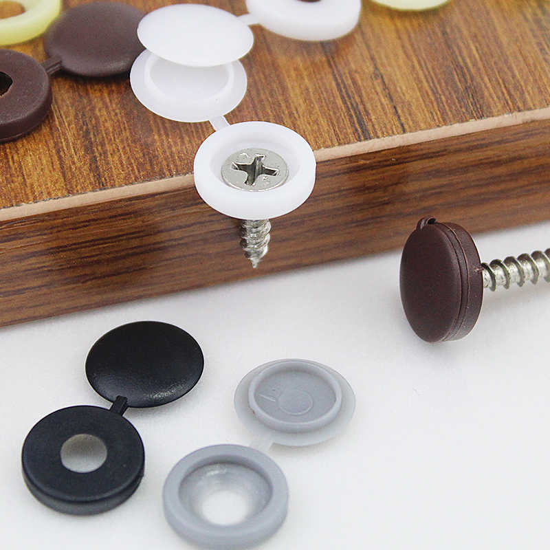 100 PC Plastik Praktis Hole Plug Sekrup Penutup Fold Tombol Tutup untuk Furniture Penutup Dekoratif Kepala Countersunk Sekrup