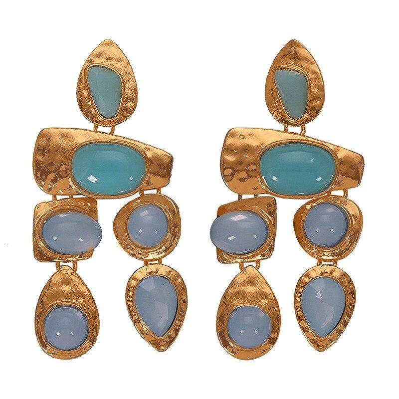 2019 Boho Golden Big Dangle Earrings Women Crystal Bead Vintage Geometric Heart Punk Statement Drop Earring Jewelry