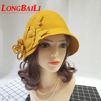 Wool Cloche Hats For Women Chapeu Yellow Bucket Hat Felt Ladies Floral Church Hat Free Shipping PWFR057