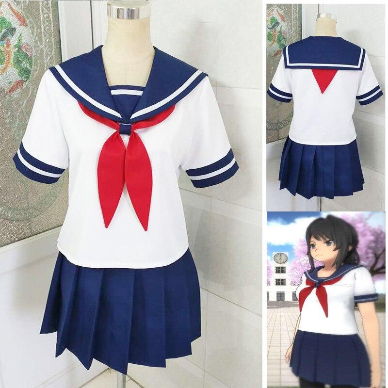 Customized Yandere Simulator Ayano Aishi Yandere-chan Cosplay Costumes Yandere Simulator Sailor Dress School Uniform Outfits