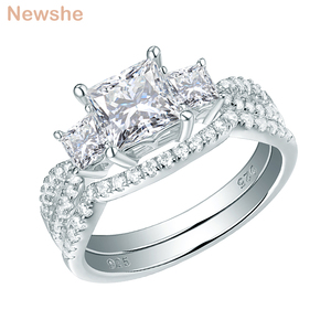 Image 1 - Newshe Solid 925 Sterling Silver Wedding Engagement Ring Set For Women 1.5 Ct Princess Cut AAA Cubic Classic Jewelry 1R0053