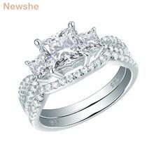 Newshe sólido 925 prata esterlina anel de noivado casamento conjunto para as mulheres 1.5 ct princesa corte aaa cúbico clássico jóias 1r0053
