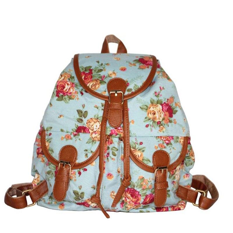 Cordon anti vol sac à dos impression Rose fleur Toile sac à dos filles sacs d'école sac à dos rugzak livraison gratuite T23