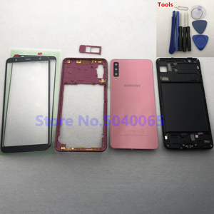 Image 4 - For Samsung A7 2018 SM A750F A750F Full Housing Front Mid Frame Plate Bezel Battery Back Cover Door Case A7  A750 + Front Glass