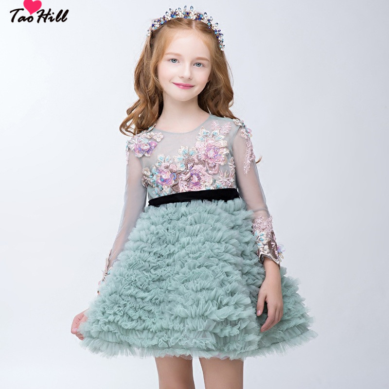 TaoHill Long Sleeve Lace   Flower     Girl     Dress   Applique and Bowknot Back Embroidery Baby   Girl   Green   Dress