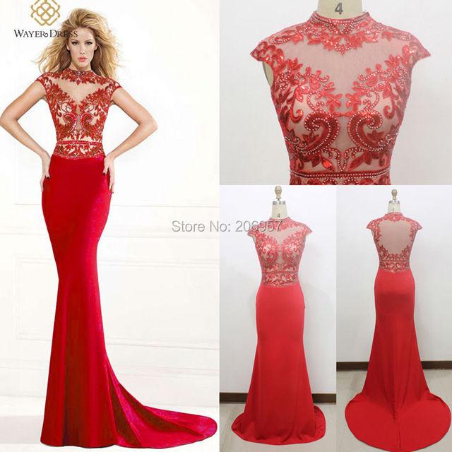 b76f721a76 Cuadro verdadero del bordado rojo moldeado De la sirena De noche largo  vestidos De cola De