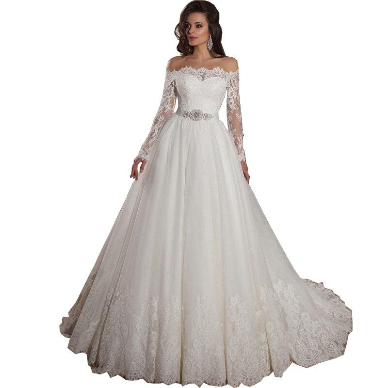 Vestidos De Noiva 2015 Off Shoulder Lace Long Sleeve Ball Gown ...